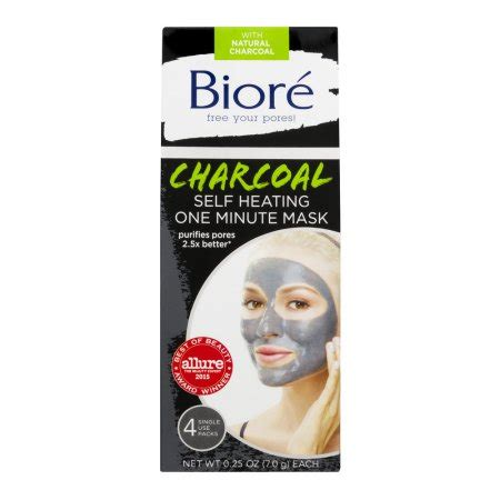Biore Charcoal Mask Self Heating One Minute Mask biore charcoal self heating one minute mask 4 pk 7 0 g