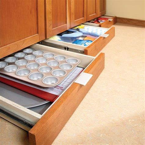 Under Kitchen Cabinet Storage | drawers under the cabinets diy extra kitchen storage