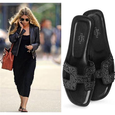 Sandal Sendal Hak Heels Hermes Oran Mirror Quality Branded Wanita Cewe top quality original design oran rhinestone studded flat sandals