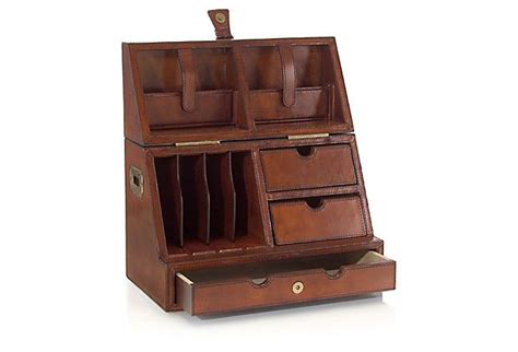 Leather Desk Organizer With Drawers Leather Folding Desk Organizer Brown On Onekingslane Create In Comfort