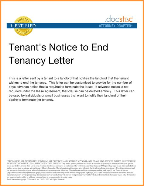 lease termination letter tenant template collection