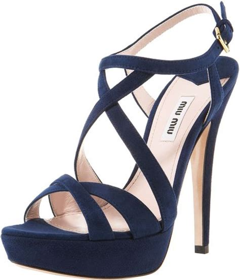 navy blue strappy sandals miu miu suede crisscross strappy sandal in blue navy lyst