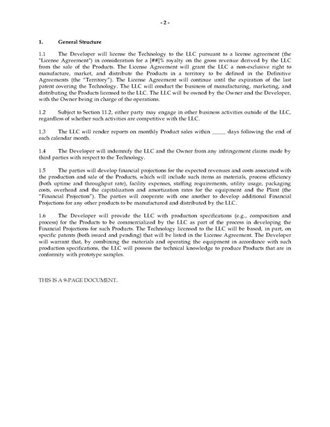 Letter Of Intent To Form Joint Venture letter of intent for manufacturing joint venture
