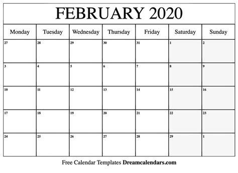 printable blank february  calendar   heart