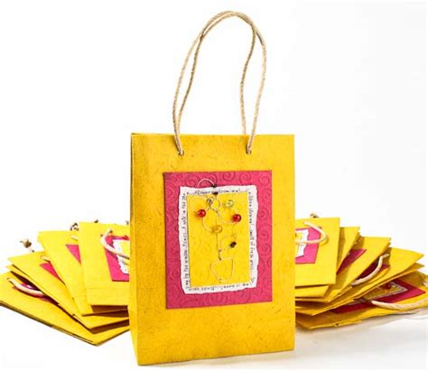 Handmade Paper Gift Bags - yellow handmade paper gift bags set of 10 gift bags