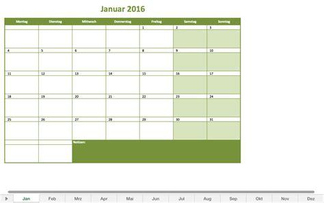 Kalender 2016 Monatsweise Monatskalender 2016 Excel Vorlagen F 252 R Jeden Zweck