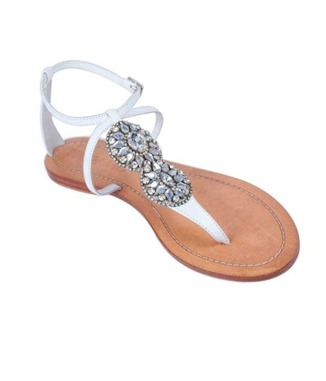 Faux Leather Flat Sandals foonty white faux leather flat sandal price in india buy