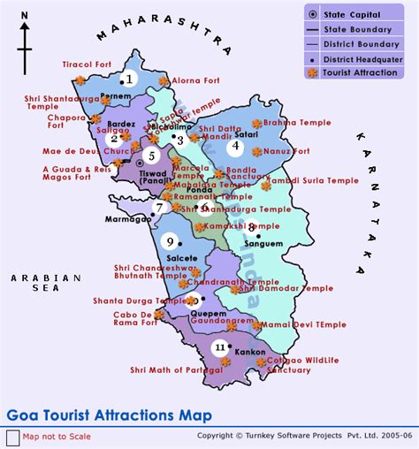 tourist attractions in map schiltiopeaha tourist map of goa