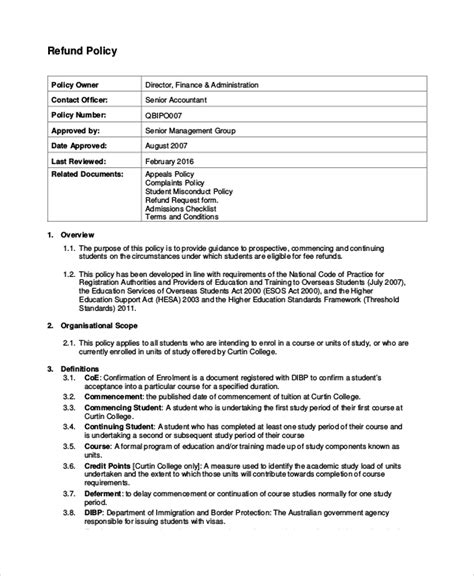 9 Sle Refund Policy Templates Sle Templates Return Policy Template