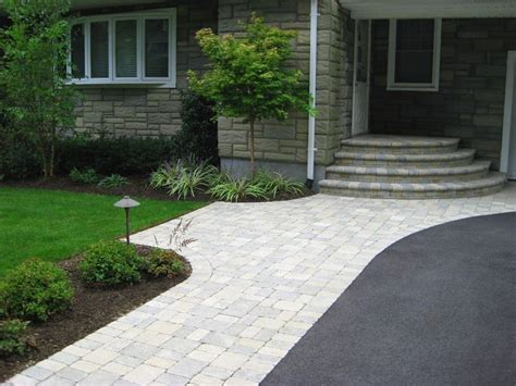 asphalt driveway unilock brussels block paver walkway and stoop color sandstone limestone