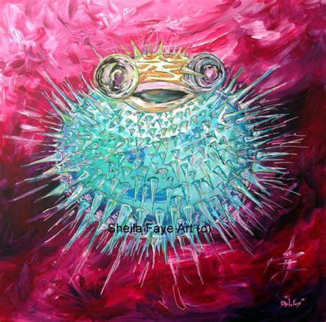 acrylic paint national bookstore pufferfish acrylic painting 12x12 print