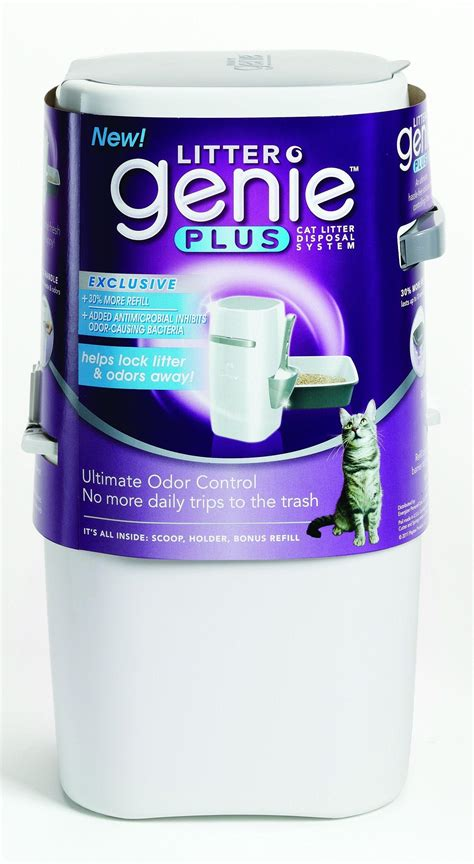amazon com litter genie plus cat litter disposal system with odor free pail system white