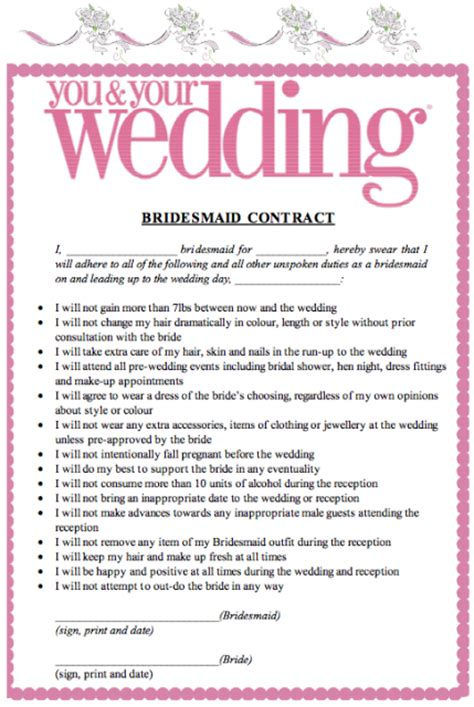 wedding decorator contract bridesmaid contracts wedding planning discussion forums