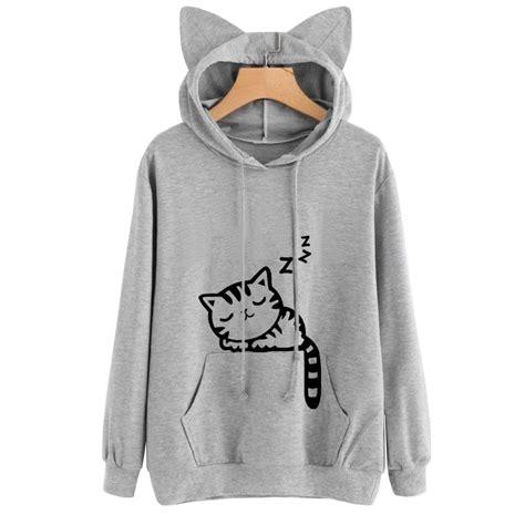 Hoodie Longkitty Black sweatshirts cat print cat ear kawaii hoodies casual sleeve pullovers cat