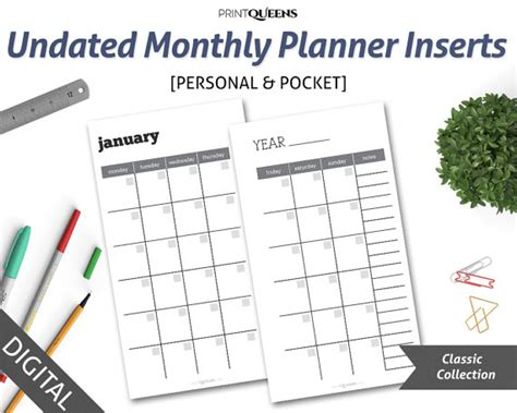 printable pocket planner undated monthly planner insert printable month on two