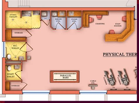 physical therapy clinic floor plans architectural rendering 3d computer modeling colored floor plans proposed rehab suite