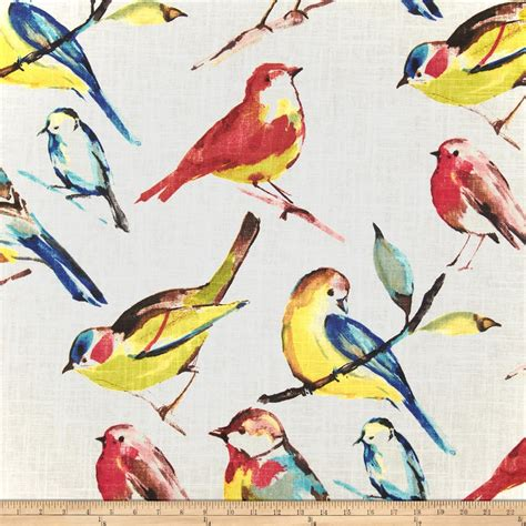 curtain fabric with bird print richloom birdwatcher summer discount designer fabric