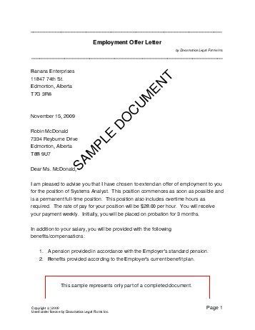 Employment Letter In Canada Employment Offer Letter Canada Templates Agreements Contracts And Forms