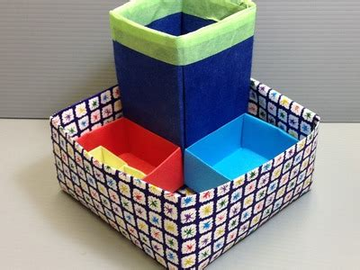 Origami Desk Organizer - how to make mobile stand holder from waste material my