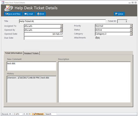 microsoft access help desk ticketing tracking database