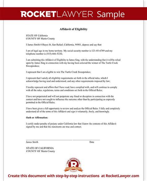 Sweepstakes Eligibility - affidavit of eligibility sweepstakes contests form sle template