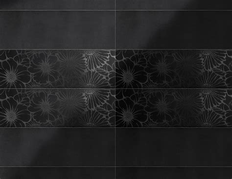 pop flower black on black italian ceramic tiles