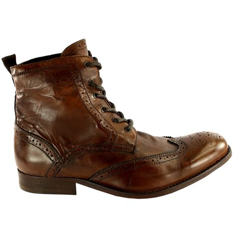 mens leather lace up ankle boots mens h by hudson angus brogue leather lace up smart ankle
