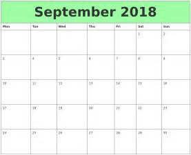 Calendar 2018 Printable Monday Start September 2018 Printable Calendars