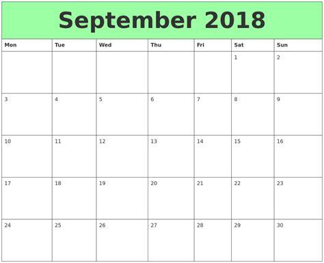2018 Calendar September September 2018 Printable Calendars