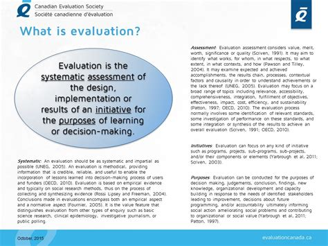 what is evaluation evaluationcanada ca