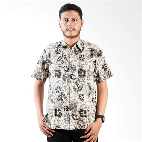Baju Batik Pria Kemeja Monocrom jual daily deals batik nulaba printing lengan pendek