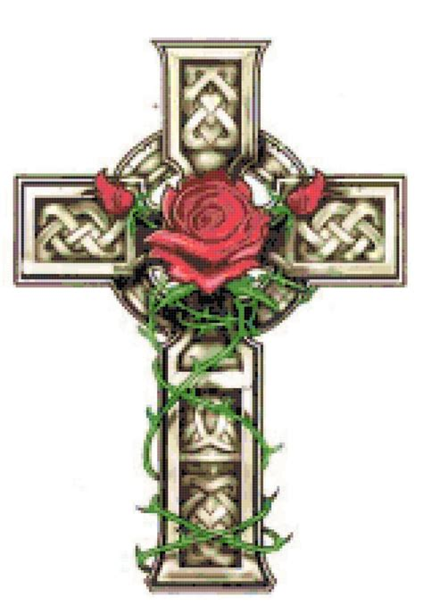 celtic cross with roses tattoo designs celtic cross with and vines cross stitch pattern