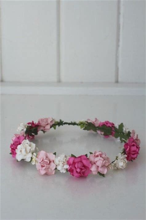Handmade Flower Crown - handmade paper flower crown pink flower