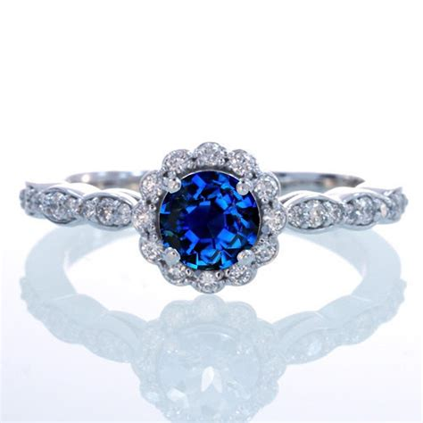 1 5 carat cut sapphire and flower vintage