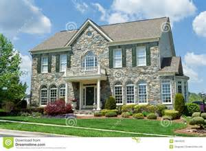 1500 Square Feet House Plans stone faced single family house home suburban md stock