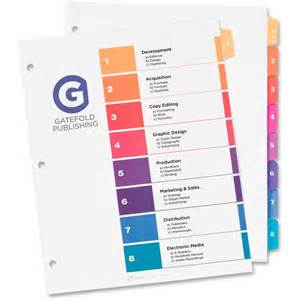 Avery Index Tabs Template by Avery Ready Index Table Of Contents Dividers With Sub Dividers