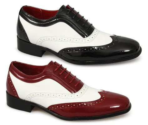 mens funky fancy dress costume italian brogue patent