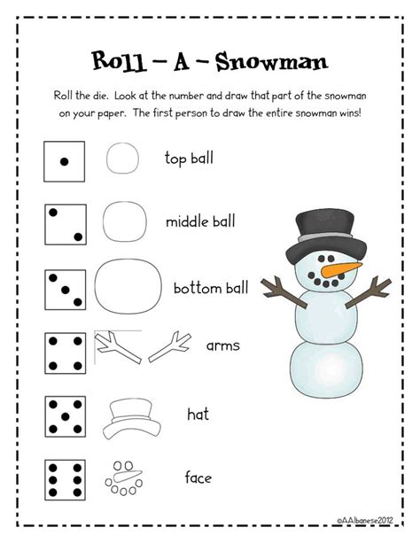 printable snowman dice game fun games games for school and google drive on pinterest
