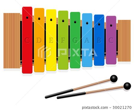 C Xylophone xylophone c major scale rainbow colored 스톡일러스트 30021270