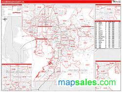 hillsborough county fl zip code wall map line style