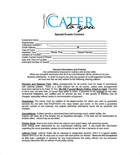 catering contract templates word excel sles