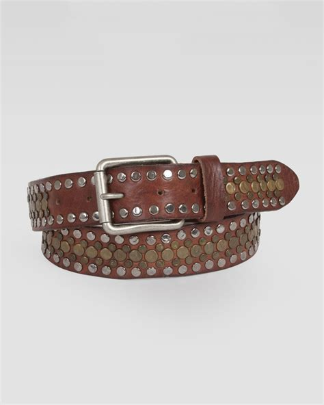 Brown Leather Studded by Will Leather Goods Singer Studded Leather Belt In Brown