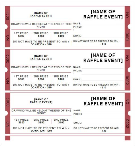 ticket template for word sle raffle ticket template 20 pdf psd illustration