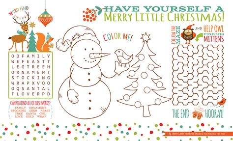 free printable christmas table games christmas archives three little monkeys studio
