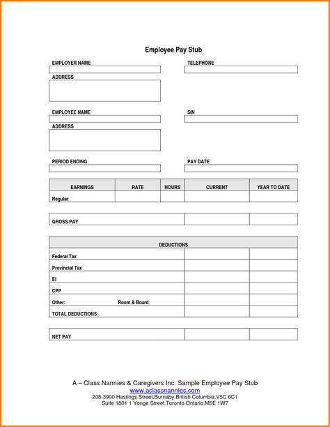 blank pay stub invoice template invoice template 2017