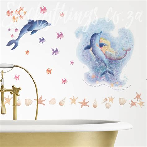 Dolphin Wall Sticker mermaid and dolphin wall sticker bathroom wall decal