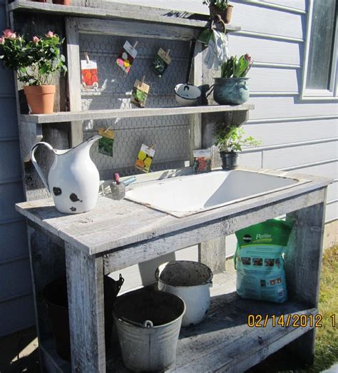 potting bench sink potting bench made with an old cast iron sink grow the