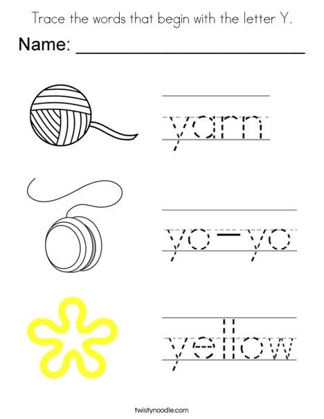 Y Words Coloring Pages by Trace The Words That Begin With The Letter Y Coloring Page