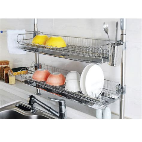 Kitchen Sink With Drying Rack Stainless Fixing Shelf Dish Drying Rack Drainer Dryer Tray Kitchen Shelf Ebay