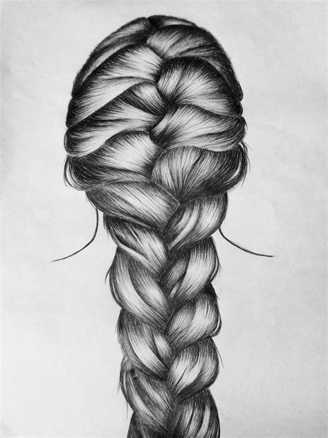 sketches of hair my new french braid pen drawing hair pinterest